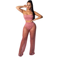 Lace Sequins Perspective Tube Top And Pant