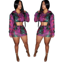Hooded Printed Two Skirt Set