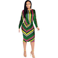 Multi-color O Neck Step Print Long Sleeve Dresses