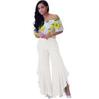 Asymmetric Frill Flared Pants