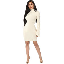 High Neck Flare Long Sleeve Club Dress