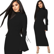 High Neck Flare Long Sleeve Maxi Dress