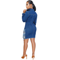 Hole Long Sleeve Denim Jacket Dress