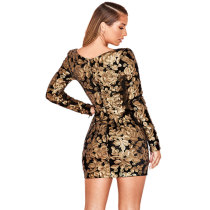 Long Sleeve Sequins Party Dress