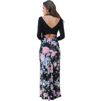 Long Sleeve Hollow Out Backless Print Long Gown