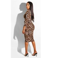 Sexy Grids Printed Lace-up Khaki Knee Length Dress