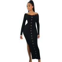 Casual Long Sleeve Deep V Slit Dress