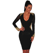 Black Gold Embroidered Sheer Long Sleeves Dress
