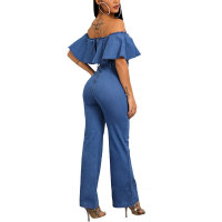 Ruffles Off Shoulder Belted Denim Jumpsuit