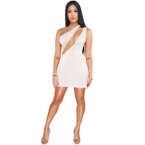 One Shoulder Front Cut-out Sexy Mini Dress