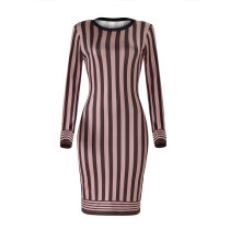 Trendy Striped Coffee Knitting Knee Length Dress