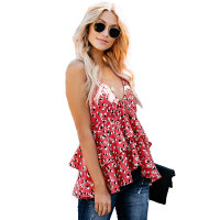 Casual Sexy Knit Sling Print Top