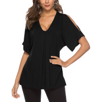 Absorbing Oversize Blouse Cold Shoulder Pure Color