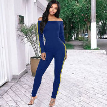 Sexy Off Shoulder Slim Patchwork Bodycon Jumpsuit