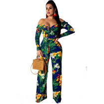 Off Shoulder Printed Jumpsuit with Wide Leg