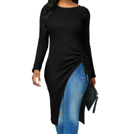Round Neck Long Sleeve Side Slit Midi Dress