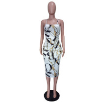 Temperament Straps Printed Mid Calf Dress