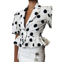 Spot Print Ruffled Shirt