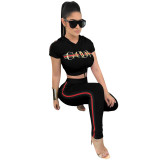 Two Piece Printing Leisure Hooded T-shirt & Trousers