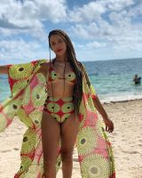 Hollow Printed Bikini Set with Cloak