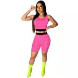 Solid Color Sleeveless Short Sets