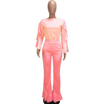 Contrast Ruffle Top and Flared Pants Set