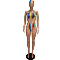 Sexy Printed Bikini Set with Headdress