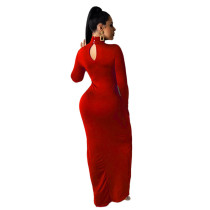 Solid Color High Neck Long Sleeve Slit Maxi Dress