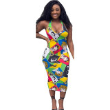 Casual Printed Halter Mid Dress