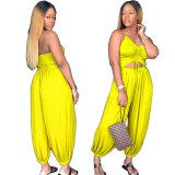 Halter Backless Sexy Wide Leg Bloomers Jumpsuit