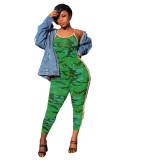 Sexy Straps Camo Print Jumpsuit