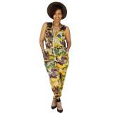 Sleeveless Camouflage Print Jumpsuit