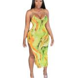Sexy Straps Printed Irregular Mid Dress