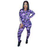 Casual Camouflage Sports Two Piece Outfits