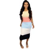 Straps Color Block Midi Dress