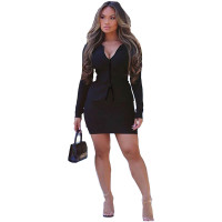 Casual Black Skirt Set