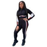 High-neck Webbing Stitching Sports Two Piece Set