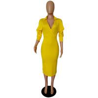Solid Color Bat Sleeve V Neck Irregular Dress