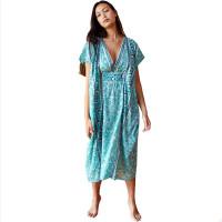V Neck Print Beach Dress