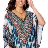 Chiffon Flower V-neck Leopard Beach Dress