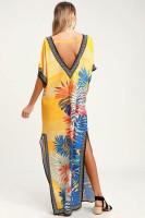 V Neck Printed Beach Dress