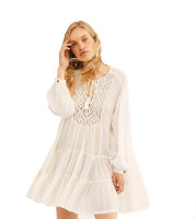 Cotton Lace Beach Shirt Dress