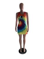 Casual Letter Tie-dye Mini Dress