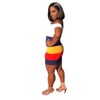 Deep V Striped Club Dress