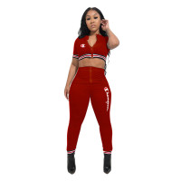 Casual Letter Zip Crop Top and Trousers