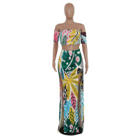 Colorful Plant Print Off Shoulder Crop Top and Split Skirt