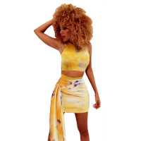 Tie Dye Round Neck 2 Piece Skirt Set