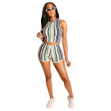 Striped Lace Up Hooded Short Set
