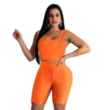 Solid Color Sleeveless Crop Top and Pant Set
