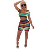 Casual Short Sleeve Rainbow Stripe Short Set